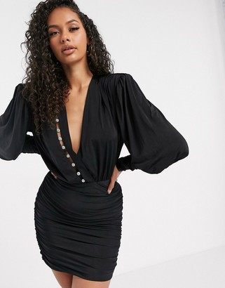 Aria Cove long sleeve wrap front ruched mini dress with diamante stripe detail in black