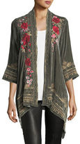 Johnny Was Meri Floral-Embroidered Velvet Cardigan