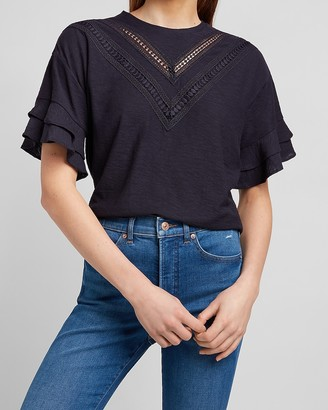 Express Lace Inset Ruffle Sleeve Tee