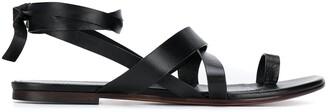 Emilio Pucci Crossover Strap Flat Sandals