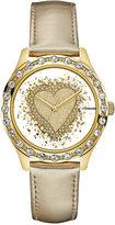 GUESS Women's Gold-Tone Leather Strap Watch 38mm U0909L2
