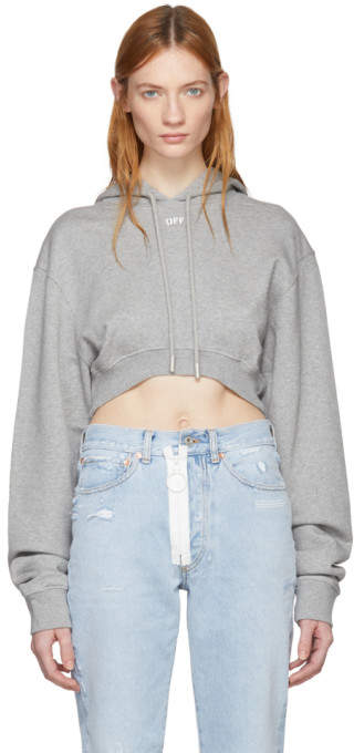 Off-White Grey Off Extra Crop Hoodie