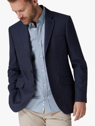 Jaeger Wool Cotton Basketweave Regular Fit Blazer, Navy