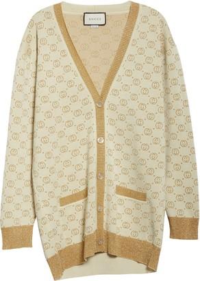 Gucci Interlocking-G Metallic Jacquard Wool Blend Cardigan