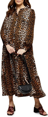 Topshop Animal Print Long Sleeve Tiered Maternity Maxi Dress