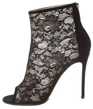 Gianvito Rossi Suede & Mesh Ankle Boots