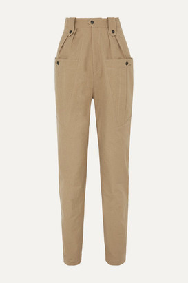 Isabel Marant Yerris Pleated Cotton-twill Tapered Pants - Army green