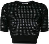 Alexander Wang cropped ladder detail knitted top