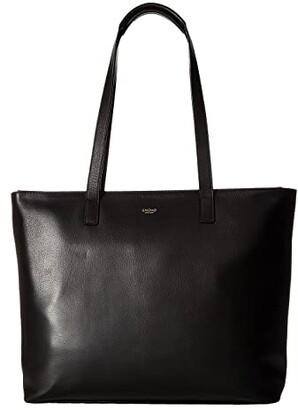 Knomo London Mayfair Luxe Maddox Top Zip Tote (Black) Tote Handbags