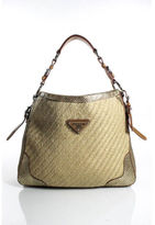 Prada Beige Woven Raffia and Gold Python Large Hobo Handbag