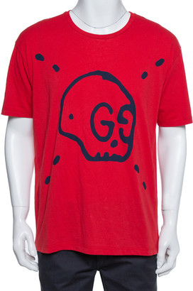 Gucci Red Ghost Skull Print Cotton Crew Neck T-Shirt M