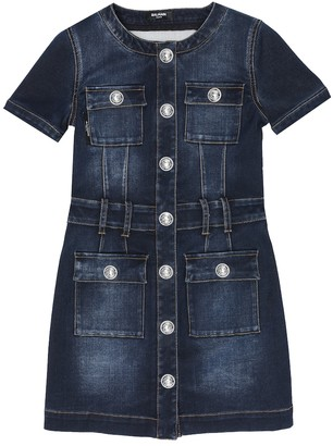 Balmain Kids Cotton-blend denim dress