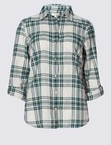 Marks and Spencer Pure Cotton Checked Long Sleeve Shirt