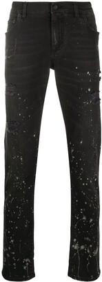 Dolce & Gabbana Paint-Splatter Slim-Fit Jeans