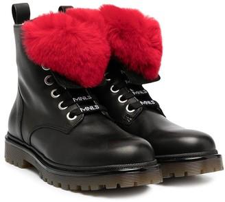 MonnaLisa Pompom Detail Lace-Up Boots