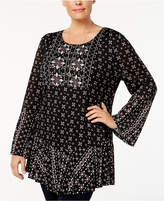 Style&Co. Style & Co Plus Size Mixed-Print Bell-Sleeve Tunic, Created for Macy's