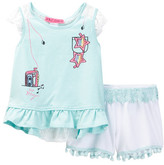 Betsey Johnson Top with Lace Detail & Lace Trim Short Set (Toddler Girls)