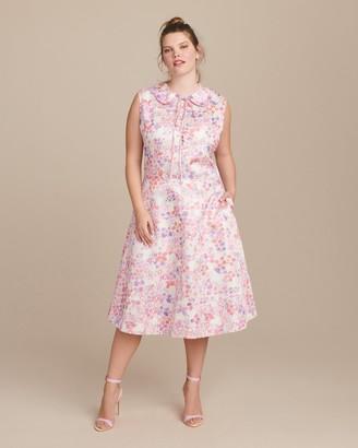 Ryan Lo Glitter Sleeveless Floral Princess Dress