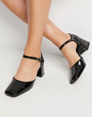 ASOS DESIGN Spirit square toe Mary Jane mid heels in black
