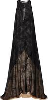 Vionnet Two-tone chiffon-paneled silk-jacquard gown