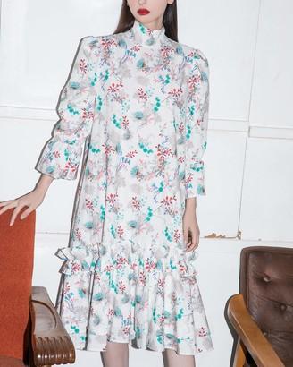 The Drop Women's Floral Print Loose Mock Neck Ruffle Flare Midi Dress by @emisuzuki XL