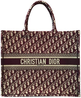 Christian Dior Book Tote Burgundy Cloth Handbags