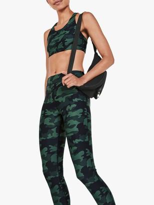 Hush Activewear Camo Print Strappy Sports Bra, Khaki