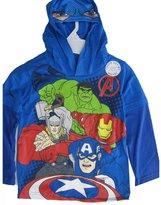Marvel Marvels Little Boys Royal Blue Avengers Print Hooded Shirt