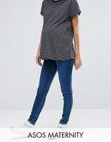 Asos Ridley Skinny Jeans in Hester Dark Stonewash with Contrast Threads With Under the Bump Waistband