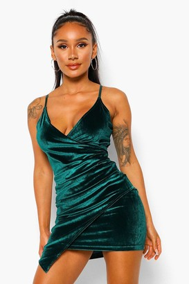 boohoo Velvet Wrap Bodycon Dress