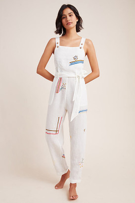 Anthropologie Christie Embroidered Linen Jumpsuit By in White Size XS