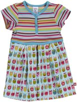 Zutano Owls Pleated Dress (Baby) - Aqua-9 Months