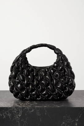 Valentino Garavani Waffle Small Studded Quilted Leather Tote - Black