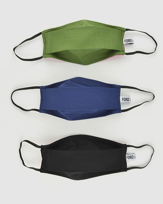 Ford Millinery - Navy Face Masks - 3 Pack Reusable Fabric Face Masks (Blues) - Size One Size, L at The Iconic