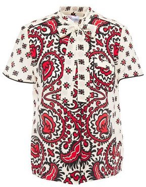 RED Valentino Pussy-bow Printed Silk Crepe De Chine Blouse