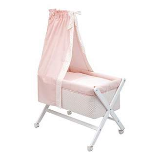 Camilla And Marc Cambrass Small Bed/Crib X Wood Une with Canopy (55 x 87 x 74 cm, Star Pink)