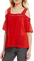 Takara Square Neck Short Sleeve Cold-Shoulder Crochet Trim Top