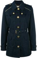 MICHAEL Michael Kors zipped shoulder coat - women - Cotton/Polyester/Spandex/Elastane - S