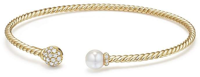 David Yurman Solari Bead & Cultured Akoya Pearl Bracelet with Diamonds in 18K Gold