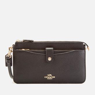 Coach Women's Polished Pebble Leather Wallet/Cross Body Bag - Black