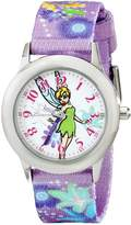 Disney Kids' W001928 Tinker Bell Time Teacher Watch With Printed Purple Nylon Band