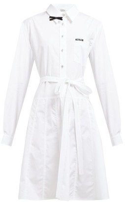 Miu Miu Bow-embellished Cotton-poplin Shirt Dress - Womens - White