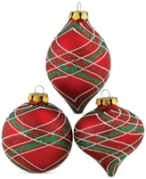 Kurt Adler Glass Red With Green Stripes Set of 3 Ornaments