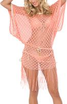 Luli Fama Beach Coral Sheer South Beach Tie-Waist Fringe Cover-Up
