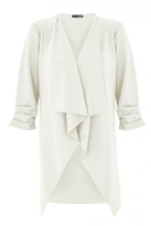 Quiz Cream Waterfall Ruched Front Jacket