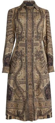 Etro Fleuve Printed Wool & Silk Shirtdress