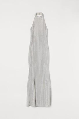 H&M Shimmering Halterneck Dress - White