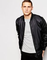 Ringspun Faux Leather Bomber Jacket