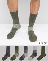 Asos Textured Socks In Khaki 5 Pack