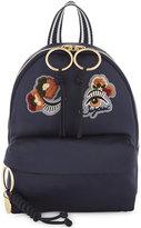 See by Chloe Ladies Marine Embossed Modern Appliqué Satin Backpack